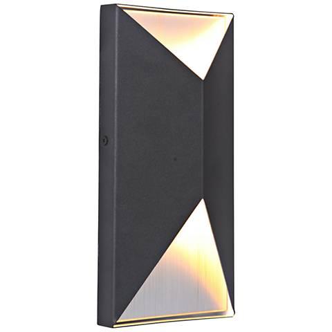 "Peak 10""H Black and Aluminum LED Pocket Outdoor Wall Light"