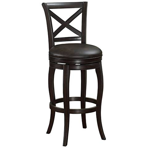 "Portland 30"" Tobacco Bonded Leather and Chocolate Barstool"