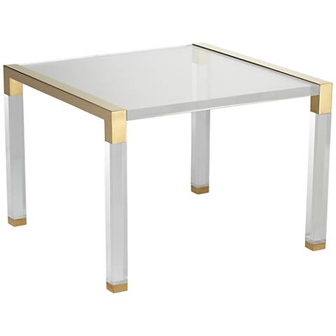 Hanna Clear Acrylic Side Table with Gold Side Edges