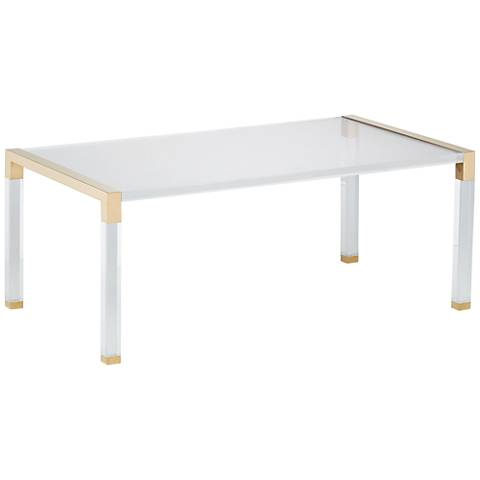 Hanna Rectangle Clear Acrylic Cocktail Table with Gold Sides