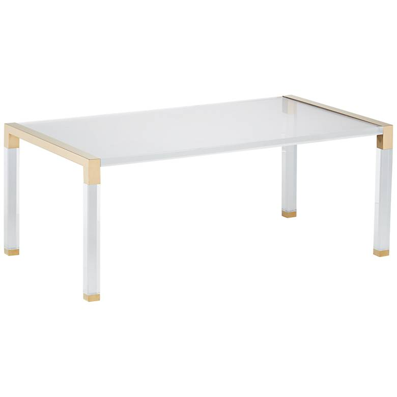 "Hanna 43"" Wide Gold and Clear Acrylic Cocktail Table"