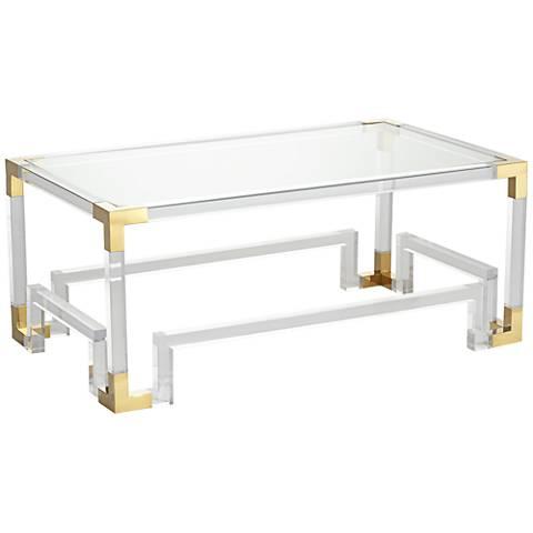 Hanna Clear Acrylic Coffee Table with Geometric Base