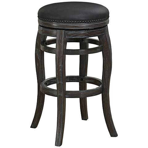 """Charlotte 26"""" Graphite Bonded Leather Swivel Counter Stool"""