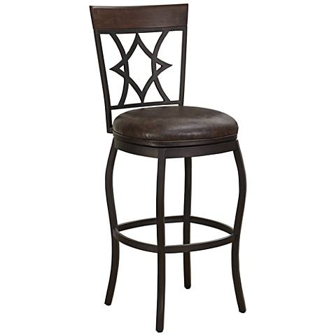 "Morgan 26"" Saddle Bonded Leather Swivel Counter Stool"