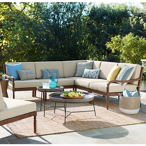 Napa Modular Acacia Wood Piece Outdoor Seating Patio Set  T