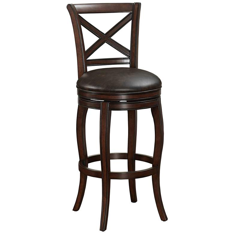 "Portland 26"" Tobacco Bonded Leather and Navajo Counter Stool"