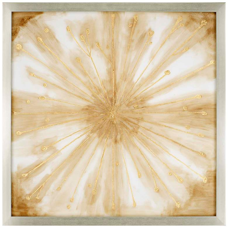 """Starburst 52"""" Square Hand-Painted Framed Wall Art"""