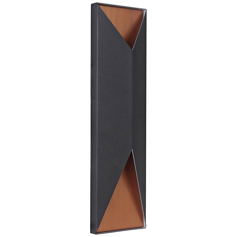 """Peak 18"""" High Black and Brass LED Pocket Outdoor Wall Light"""