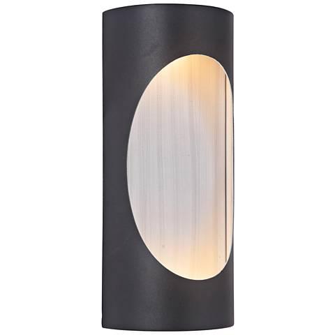 "Ellipse 11""H Black w/ Aluminum LED Pocket Outdoor Wall Light"
