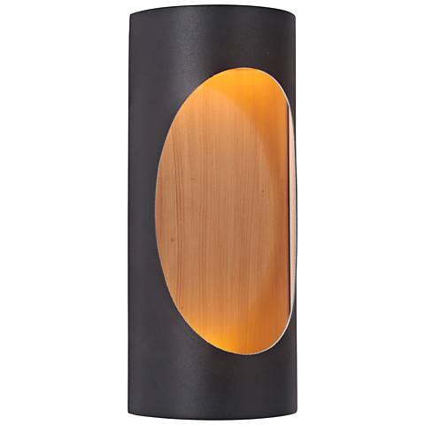 "Ellipse 11""H Black and Brass LED Pocket Outdoor Wall Light"