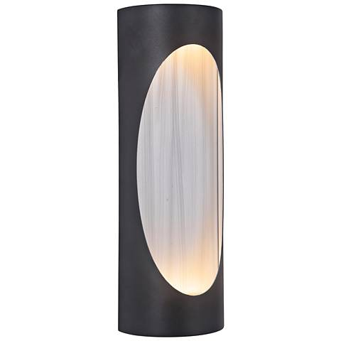 "Ellipse 14""H Black w/ Aluminum LED Pocket Outdoor Wall Light"