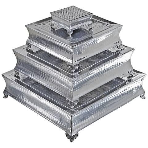 Pagoda Polished Silver Aluminum 4-Piece Cake Stand Set
