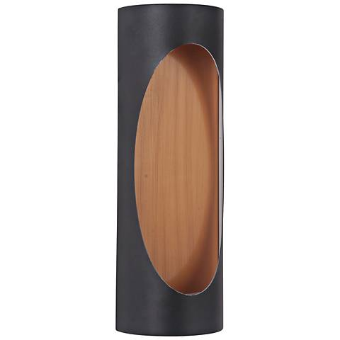 "Ellipse 14""H Black and Brass LED Pocket Outdoor Wall Light"