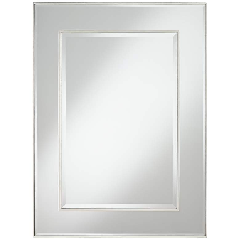 """Lane Silver 30"""" x 40"""" Stacked Dimensional Center Wall Mirror"""