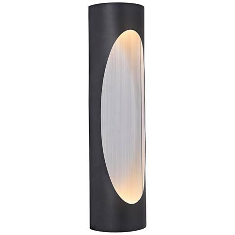 "Ellipse 18""H Black w/ Aluminum LED Pocket Outdoor Wall Light"