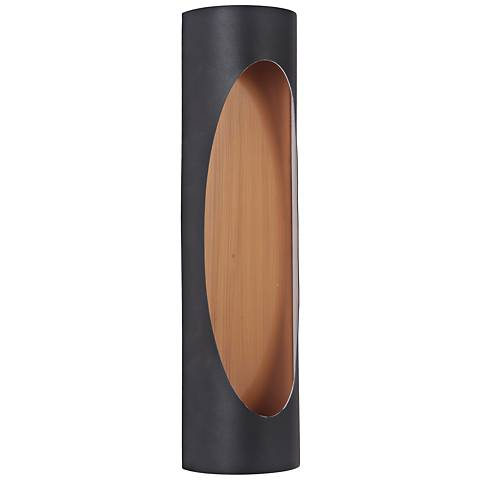 "Ellipse 18""H Black and Brass LED Pocket Outdoor Wall Light"