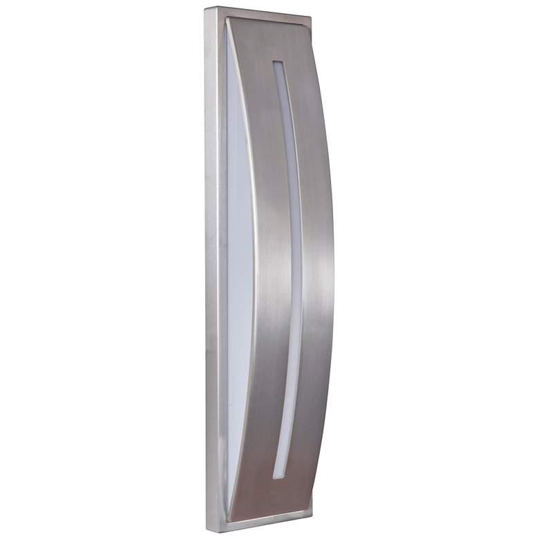 "Luna 17"" High Satin Aluminum LED Pocket Outdoor Wall Light"