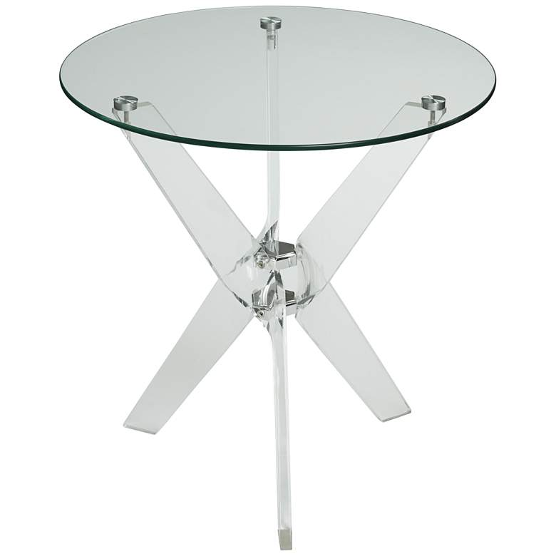 """Cindy 22"""" Wide Acrylic and Glass Round Accent Table"""