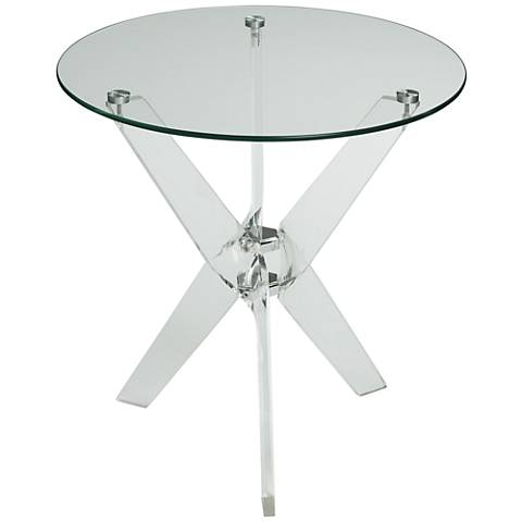 Acrylic and Glass Round Accent Table
