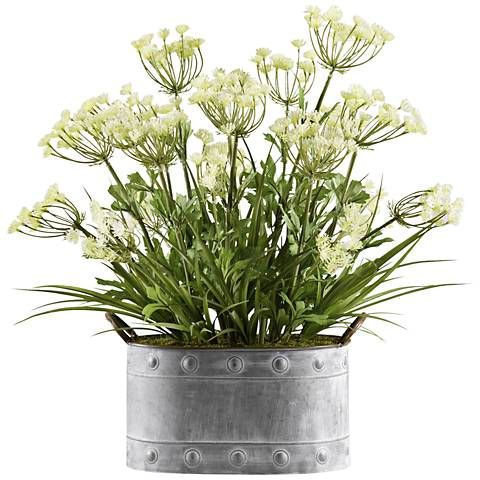 """Queen Anne's Lace 24 1/2"""" High Faux Flowers in Planter"""