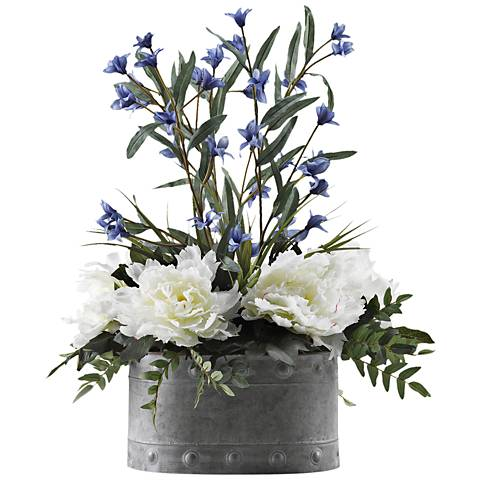 "Peonies and Wild Flowers 26"" High Faux Flowers in Planter"