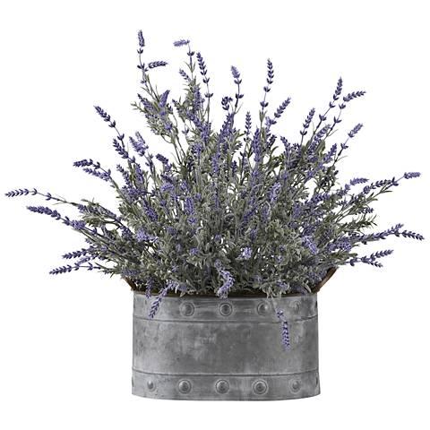 "Lavender 27"" Wide Faux Flowers in Oval Metal Planter"