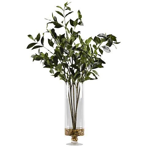 "Bayleaf Branches 29"" High Faux Plant in Glass Pedestal Vase"