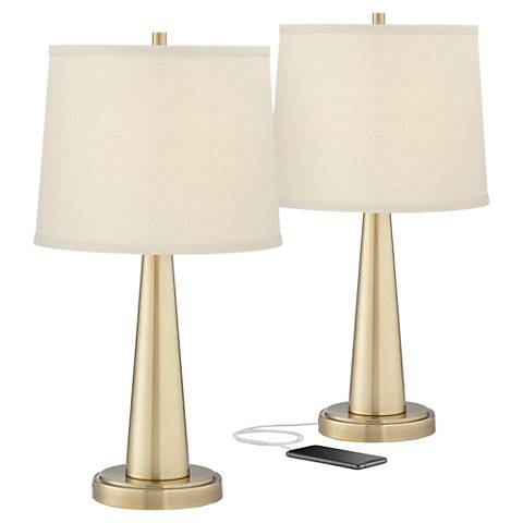 Karla Brass USB Table Lamps Set of 2