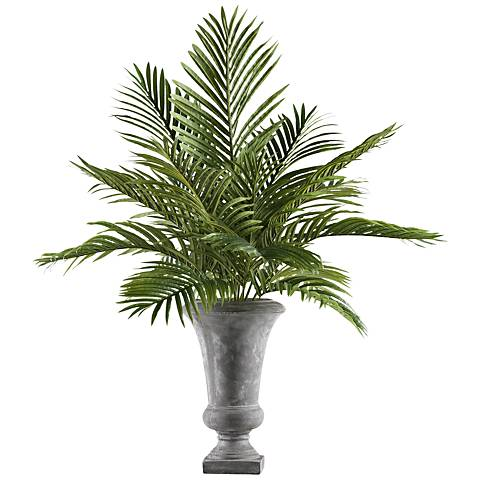 "Hawaiian Palm Fronds 45"" High Faux Plant in Gray Ceramic Urn"