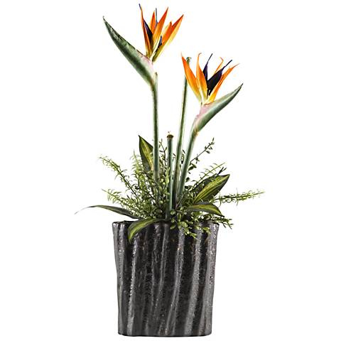 """Large Birds of Paradise 29"""" High Faux Flowers in Planter"""