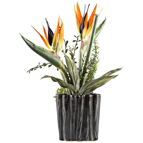 "Small Birds of Paradise 18 1/2""H Faux Flowers in Planter"