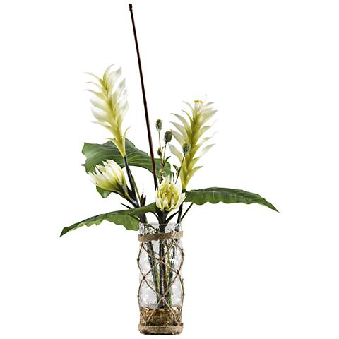 "Heliconia, Protea and Philo 29""H Faux Flowers in Cylinder"