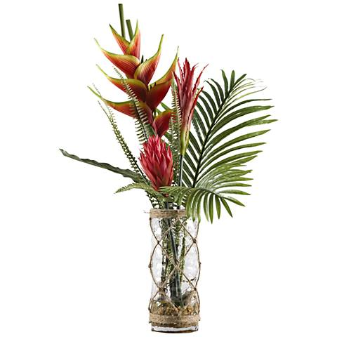 """Red Heliconia, Ginger and Protea 33""""H Faux Flowers in Vase"""