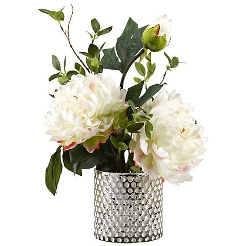 """Large White Peonies 16"""" High Faux Flowers in Glass Vase"""