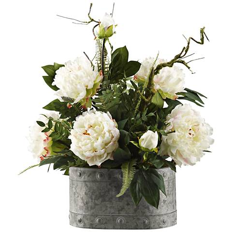 "Large White Peonies 23"" High Faux Flowers in Oval Planter"