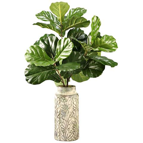 "Fiddle Leaf Fig Branches 34"" High Faux Plant in Tall Vase"