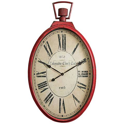 "Cooper Classics Tildyn Distressed Red 41"" High Wall Clock"