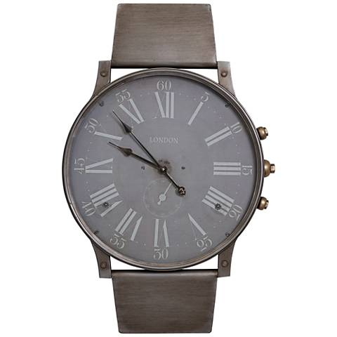 "Cooper Classics Watchland Distressed Gray 40""H Wall Clock"