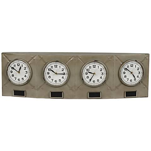 "Cooper Classics Tunnel Gray 35 1/4"" Wide Analog Table Clock"