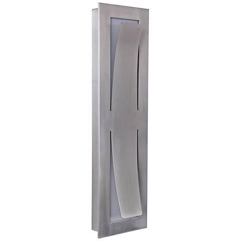 "Enzo 17 3/4""H Satin Aluminum LED Pocket Outdoor Wall Light"