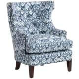Reese Studio Capri Blue Ikat High-Back Accent Chair