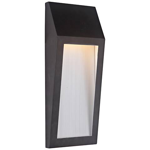 "Wedge 15 1/4""H Oiled Bronze LED Pocket Outdoor Wall Light"