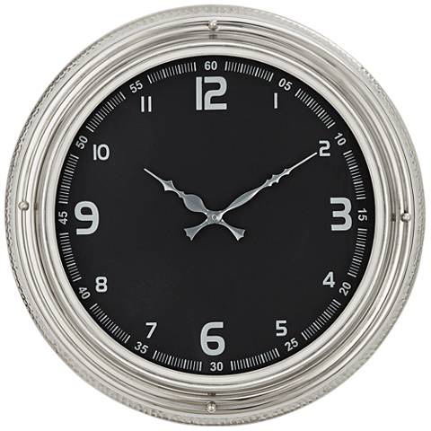"Black and Silver 18"" Metal Wall Clock"