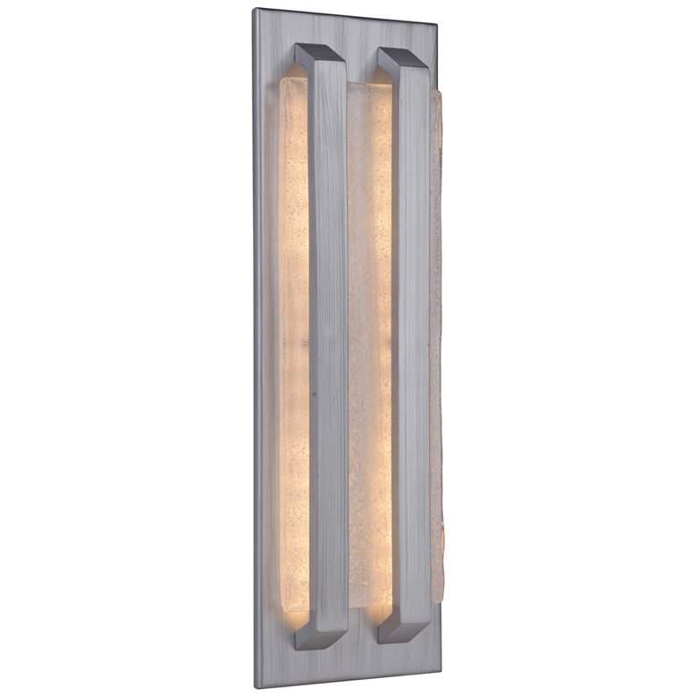 "Lux 18 1/2""H Brushed Aluminum LED Pocket Outdoor"