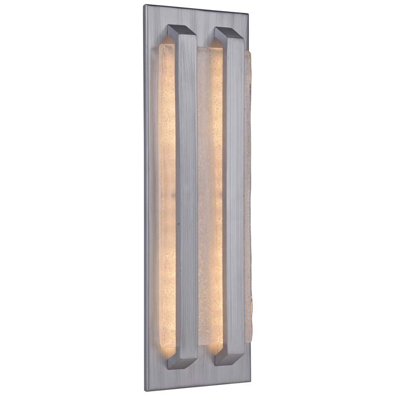"""Lux 18 1/2""""H Brushed Aluminum LED Pocket Outdoor Wall Light"""