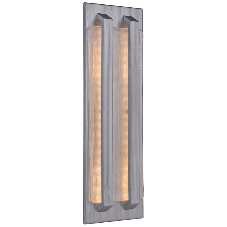 """Lux 20 1/2""""H Brushed Aluminum LED Pocket Outdoor Wall Light"""