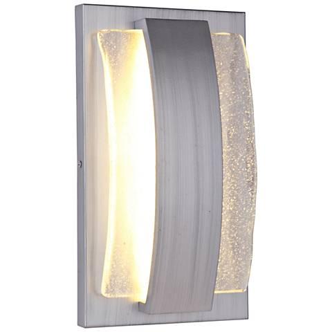 "Lynk 12 1/2""H Brushed Aluminum LED Pocket Outdoor Wall Light"