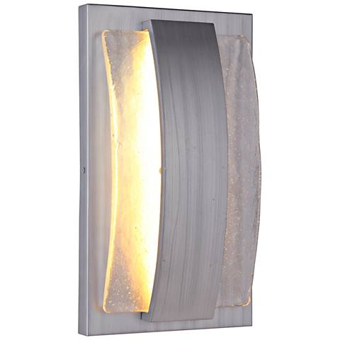 "Lynk 15 1/4""H Brushed Aluminum LED Pocket Outdoor Wall Light"