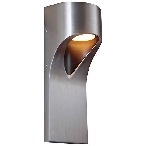 "Fusion 15"" High Satin Aluminum LED Pocket Outdoor Wall Light"
