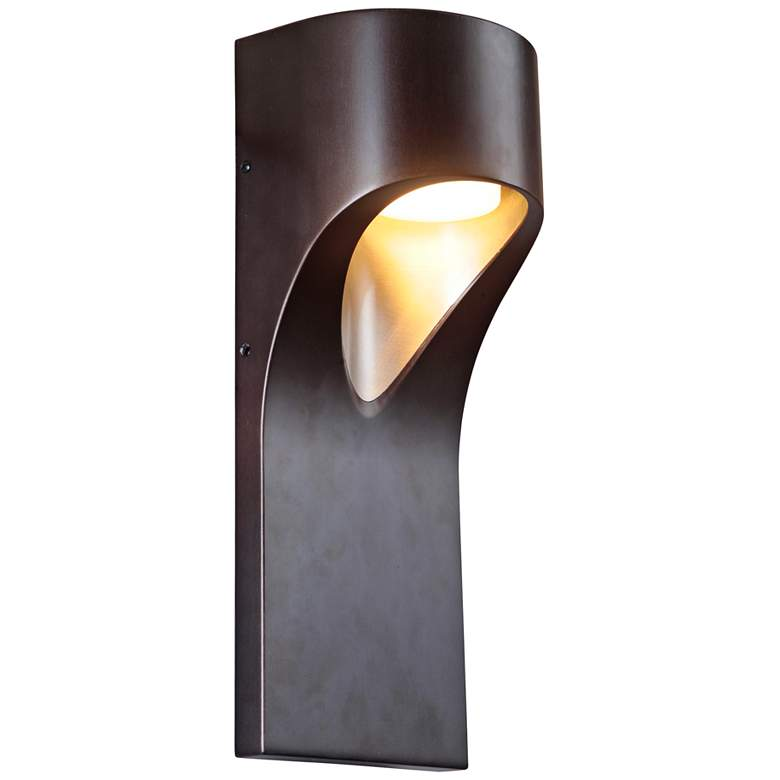 "Fusion 15"" High Black Nickel LED Pocket Outdoor Wall Light"